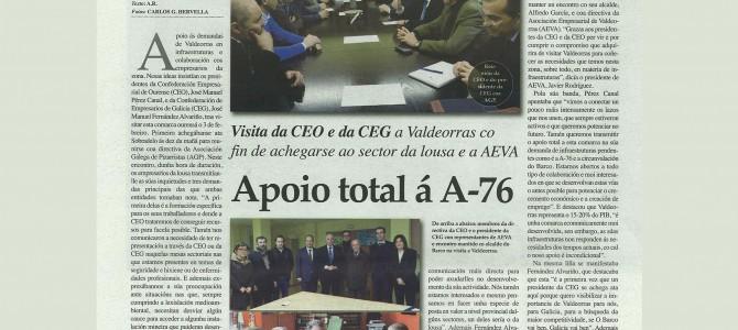 El eco de la visita de la cúpula de la CEO a Valdeorras