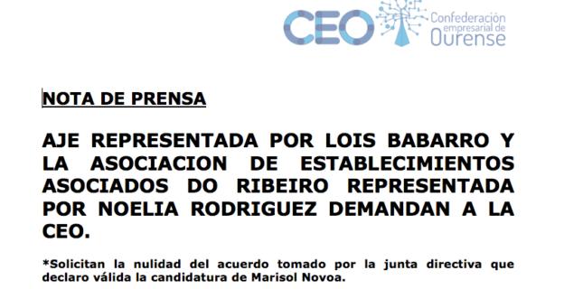 AJE REPRESENTADA POR LOIS BABARRO Y LA ASOCIACION DE ESTABLECIMIENTOS ASOCIADOS DO RIBEIRO REPRESENTADA POR NOELIA RODRIGUEZ DEMANDAN A LA CEO.